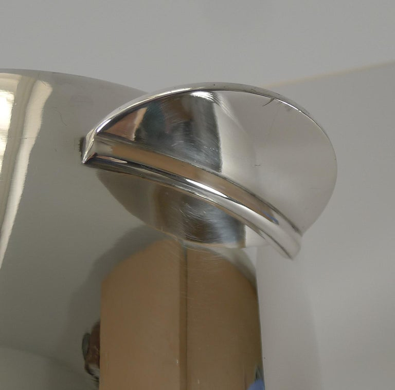 A handsome and highly sought-after Champagne bucket designed by Luc Lanel for Chrsitofle, Paris.  This