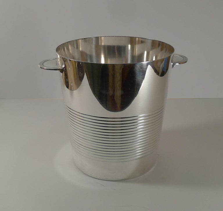 Silver Plate Luc Lanel for Christofle, Champagne Bucket / Wine Cooler, Vulcan c.1940 For Sale