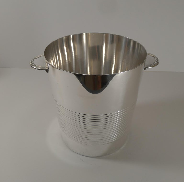 Luc Lanel for Christofle, Champagne Bucket / Wine Cooler, Vulcan c.1940 For Sale 1