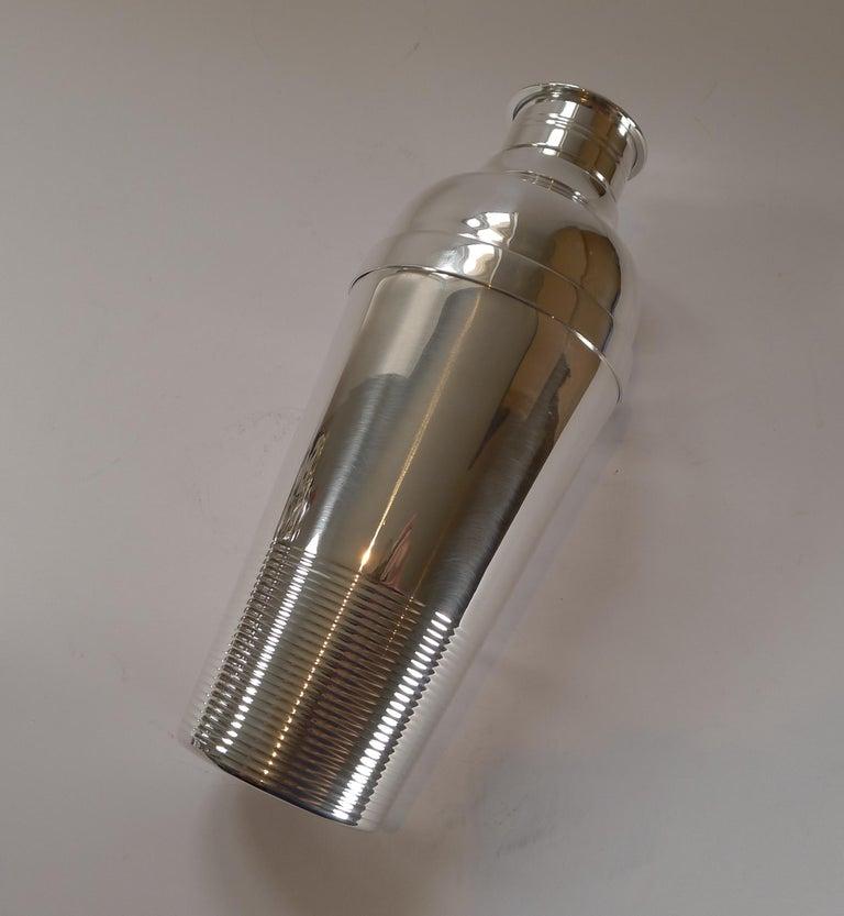 Art Deco Luc Lanel for Christofle, Ondulations Cocktail Shaker, c.1935 For Sale