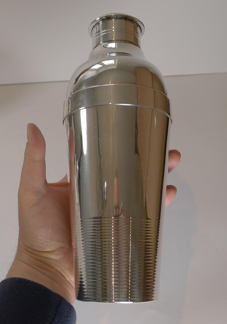 Silver Plate Luc Lanel For Christofle, Ondulations Cocktail Shaker, c.1935