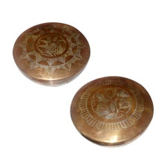 Luc Lanel for Christofle Set of Two Art Deco Dinanderie Round Lidded Boxes