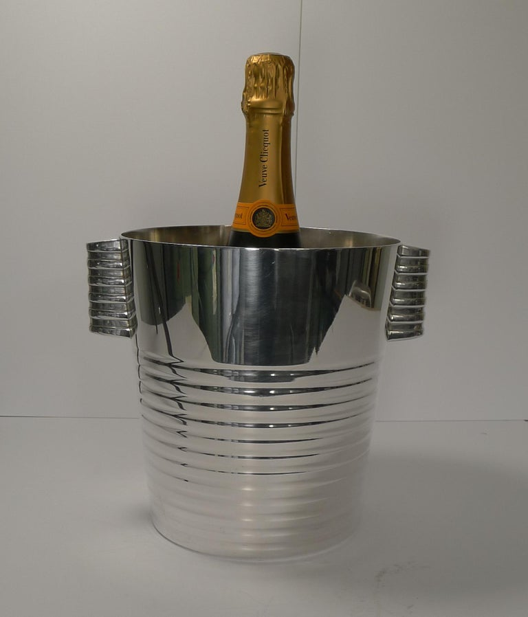 Luc Lanel for Christofle Wine or Champagne Cooler, Ondulations, circa 1935 3