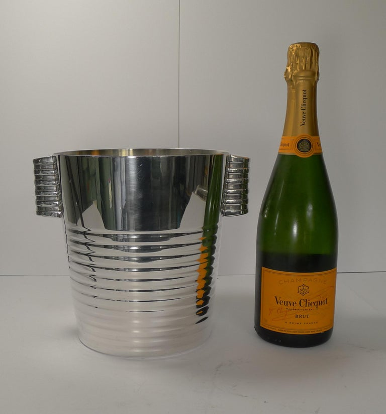 Luc Lanel for Christofle Wine or Champagne Cooler, Ondulations, circa 1935 4