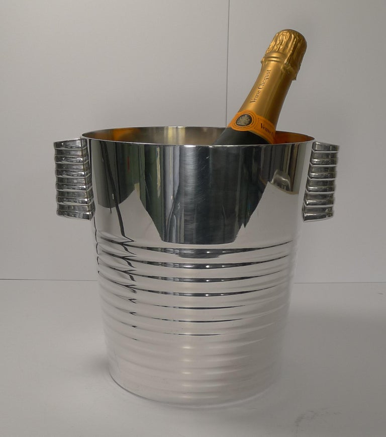 Luc Lanel for Christofle Wine or Champagne Cooler, Ondulations, circa 1935 5