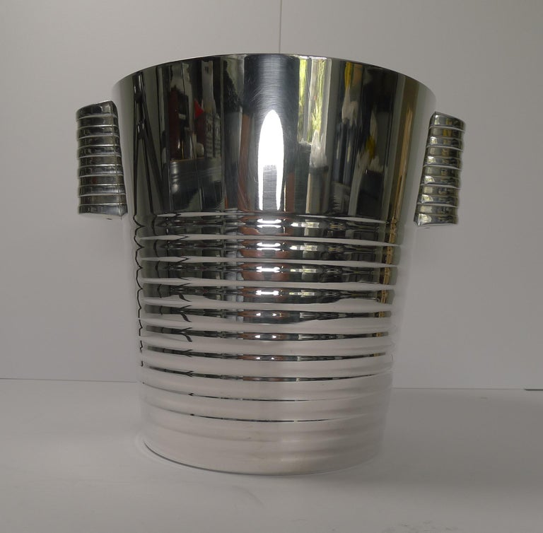Art Deco Luc Lanel for Christofle Wine or Champagne Cooler, Ondulations, circa 1935