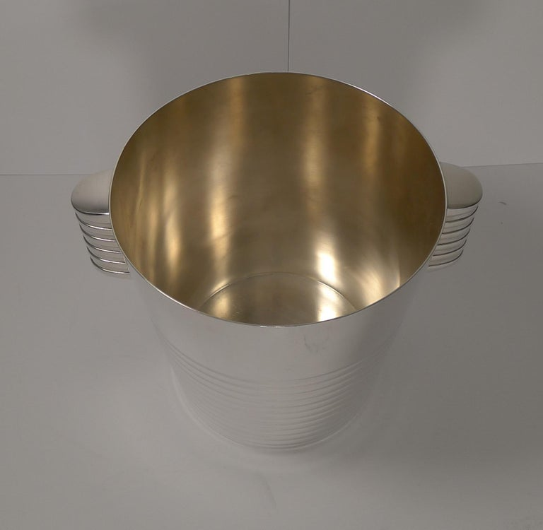 French Luc Lanel for Christofle Wine or Champagne Cooler, Ondulations, circa 1935