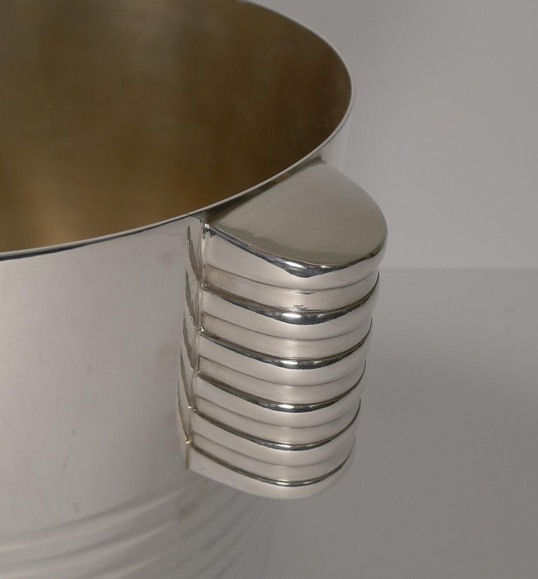 Luc Lanel for Christofle Wine or Champagne Cooler, Ondulations, circa 1935 In Good Condition In London, GB