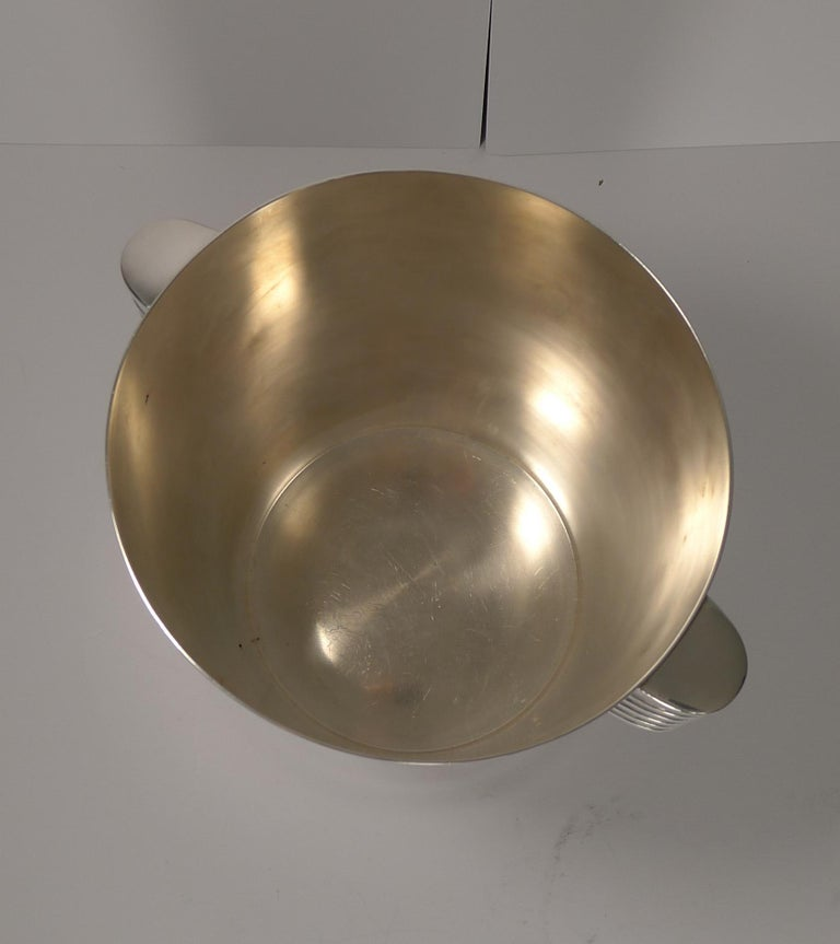 Silver Plate Luc Lanel for Christofle Wine or Champagne Cooler, Ondulations, circa 1935
