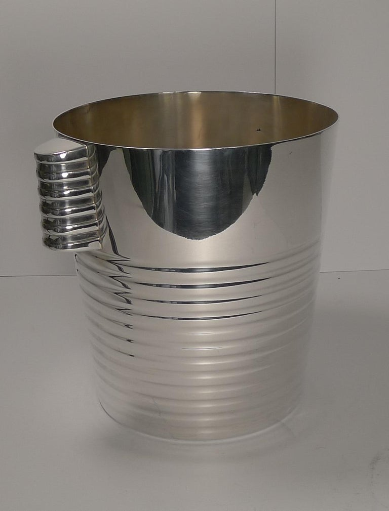 Luc Lanel for Christofle Wine or Champagne Cooler, Ondulations, circa 1935 1