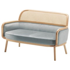 Settee Luc with Soft Velvet and Natural Rattan 2 Seater