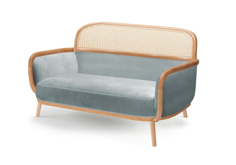 When it comes to Luc settee, the playing field is the cross-section where functional design and craftsmanship of the highest quality meet art. This settee is made of solid oakwood structure, natural rattan back and soft confortable velvet upholstery.