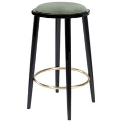 Luc Bar Stool in Solid Wood, Brass and Upholstered Seat