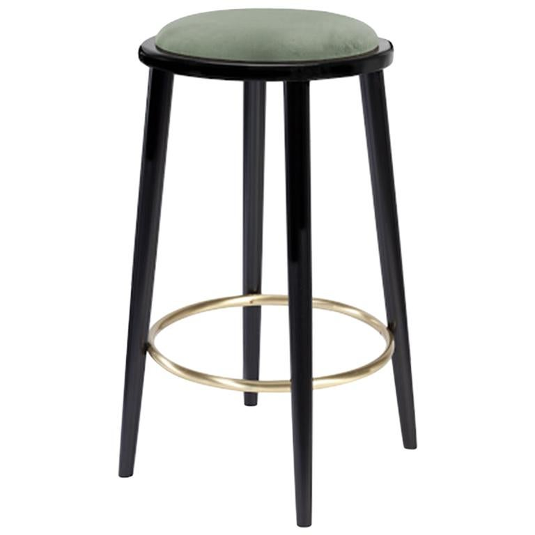 Luc Bar Stool in Solid Wood, Brass and Upholstered Seat For Sale