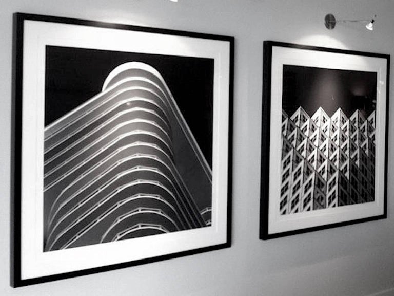 Miami Stripes, Small Black and White Abstract Architectural Photograph, 2016 For Sale 4