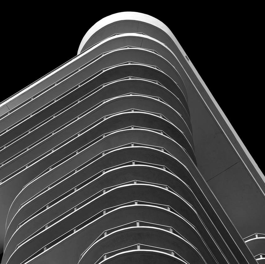 Miami Stripes 1, Black and White Architectural Photograph, 2009