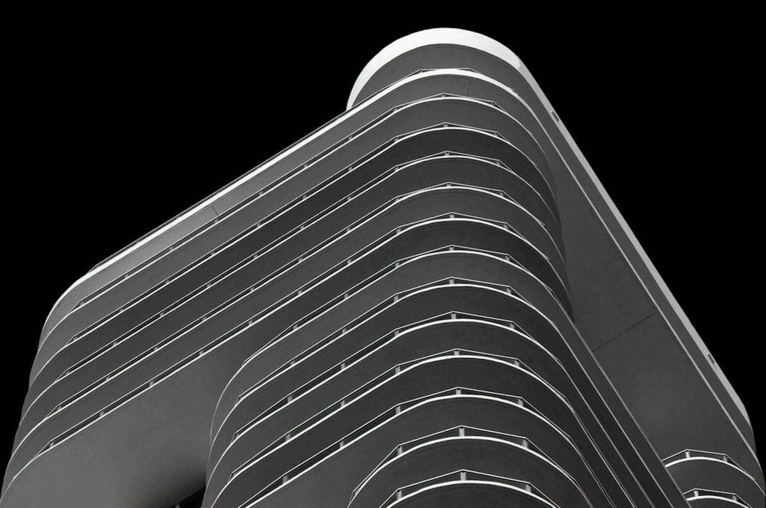 Miami Stripes 1,  Large Black and White Architectural Photograph, 2009