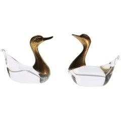Luca Bojola Pair of Ducks Cast Brass Murano Licio Zanetti Glass, 1980s, Small