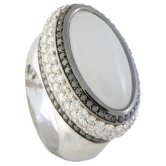 Luca Carati 18 Karat Gold White and Black Diamonds and White Quartz Large Oval
