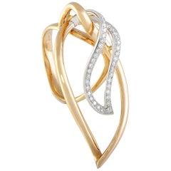 Luca Carati 18 Karat Rose/White Gold 0.31 ct Diamond Pave Large Leaf Ring