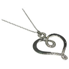 Luca Carati 18 Karat White Gold Diamond Heart Pendant with Necklace 0.63 Carat