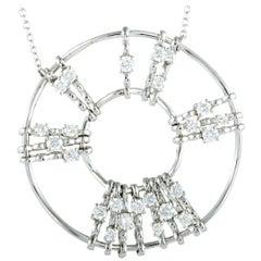 Luca Carati 18 Karat White Gold Diamond Round Pendant Necklace
