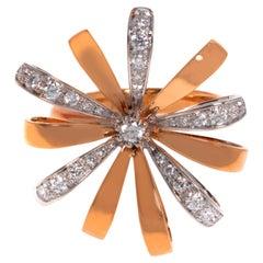 Luca Carati 18K Rose Gold Diamond Cocktail Ring 0.59Cttw