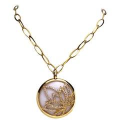 Luca Carati 18Kt Gold Opal Lotus Pendant, 1.17Ct. Yellow & .76Ct. White Diamond
