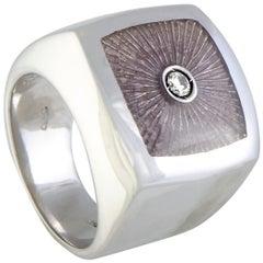 Luca Carati D-Duke Silver 2-Diamond Beige Enamel Square Cushion Ring