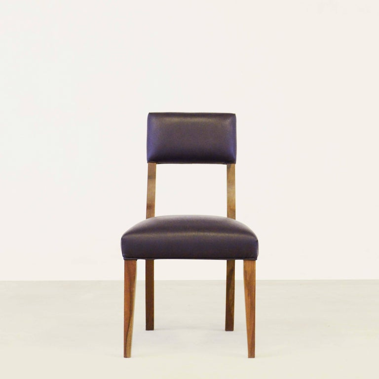 Woodwork Luca High Back Dining Chair in Argentine Rosewood and Black Leather For Sale