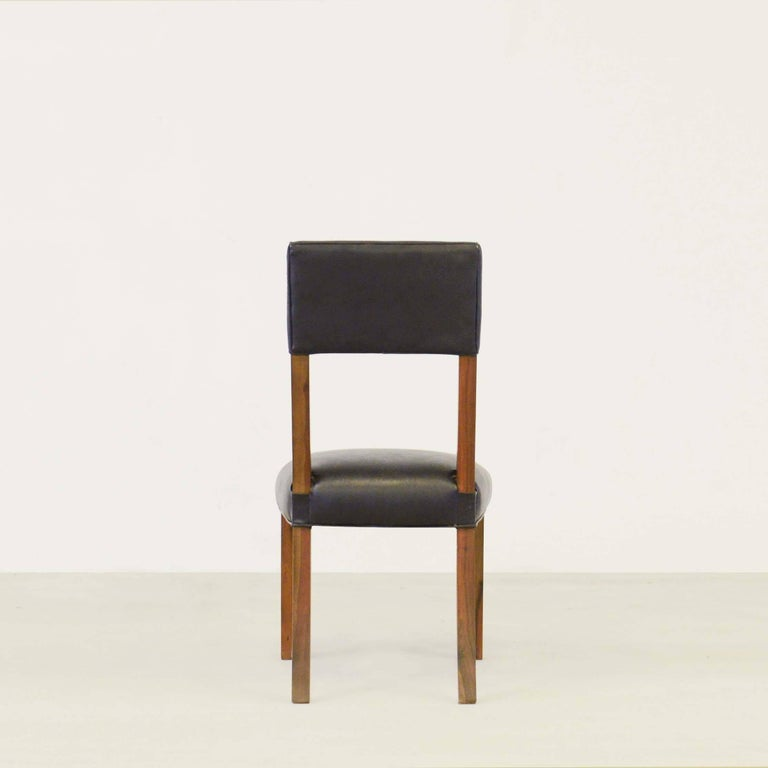Luca High Back Dining Chair in Argentine Rosewood and Black Leather In New Condition For Sale In New York, NY