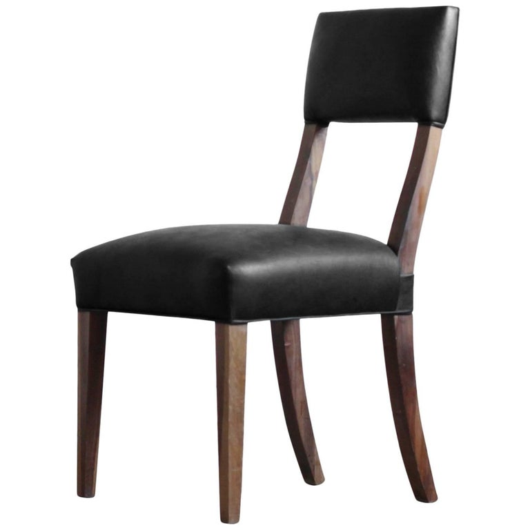 Luca High Back Dining Chair in Argentine Rosewood and Black Leather For Sale