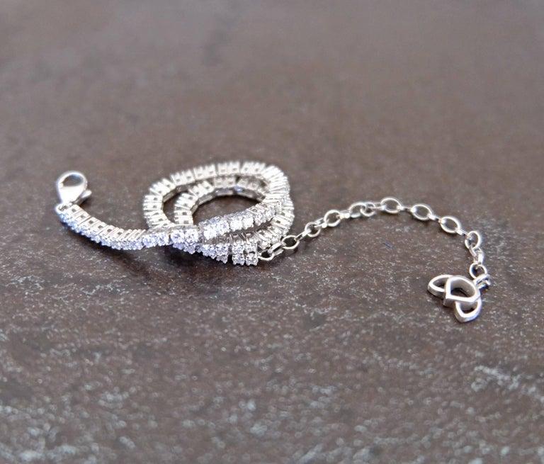 Contemporary Luca Jouel Finest White Diamond Lotus Tennis Bracelet in White Gold For Sale