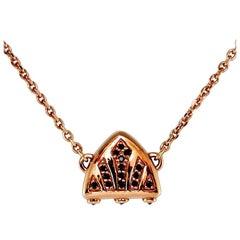 Luca Jouel 18 Carat Rose Gold Black Diamond Symbolic Arch Necklace