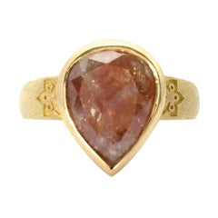 Luca Jouel 5.86 Carat One of a Kind Rose Cut Reddish Pear Diamond Gold Ring