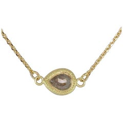 Luca Jouel Aurum Shimmer Rose Cut Pear Diamond Gold Necklace