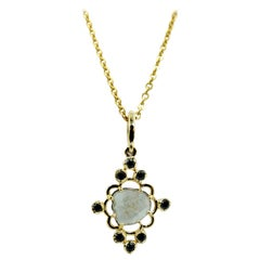 Luca Jouel Black Diamond and Slice Necklace in Yellow Gold