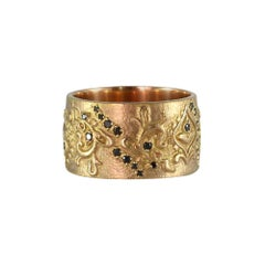 Luca Jouel Black Diamond Floral Cigar Band Ring in 18 Carat Rose Gold