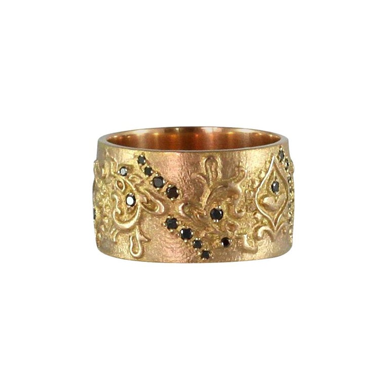 Luca Jouel Black Diamond Floral Cigar Band Ring in 18 Carat Rose Gold For Sale