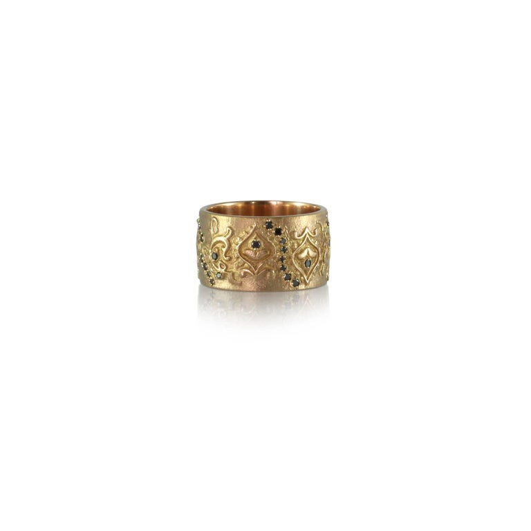 Contemporary Luca Jouel Black Diamond Floral Cigar Band Ring in 18 Carat Rose Gold For Sale