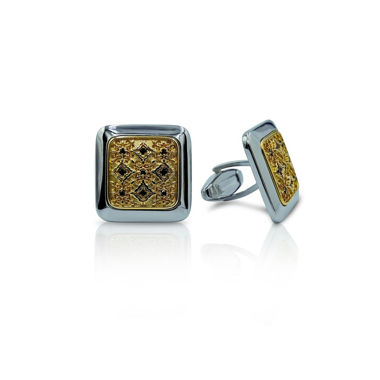 Luca Jouel Black Diamond Gents Band and Decorative Cufflinks For Sale 5