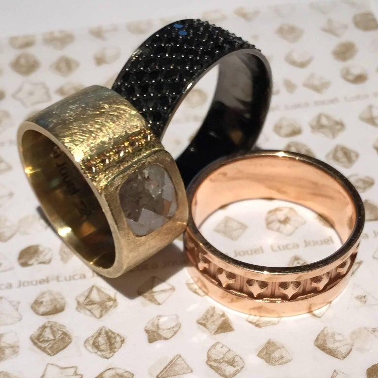 Luca Jouel Black Diamond Gents Band and Decorative Cufflinks In New Condition For Sale In South Perth, AU