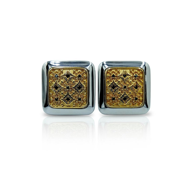 Luca Jouel Black Diamond Gents Band and Decorative Cufflinks For Sale 3