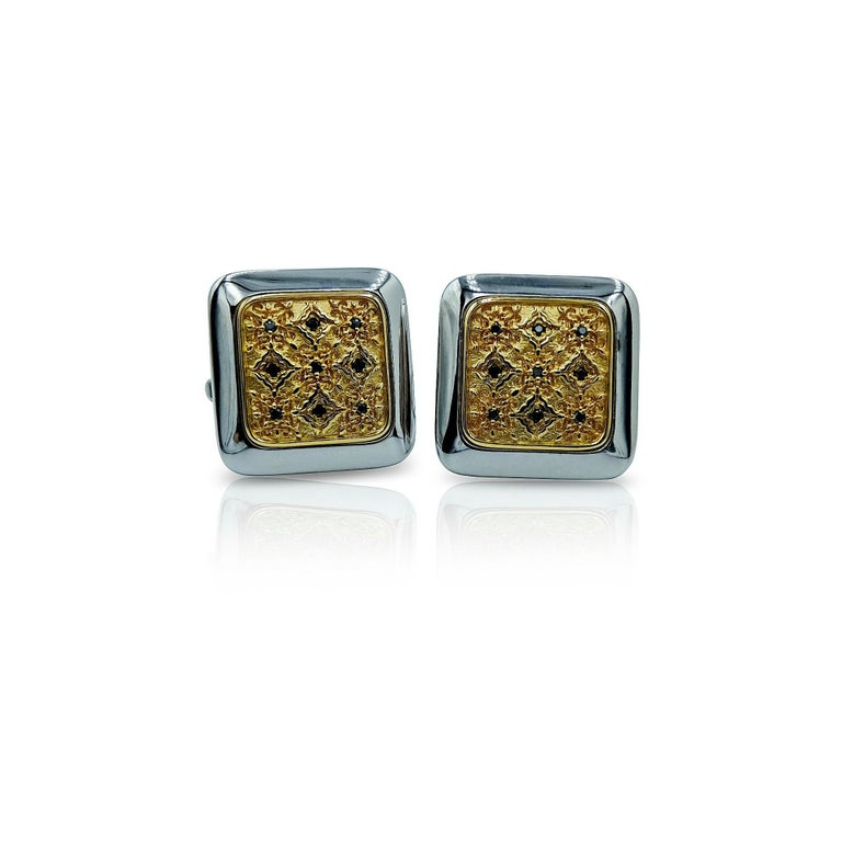 Luca Jouel Black Diamond Gents Band and Decorative Cufflinks For Sale 4