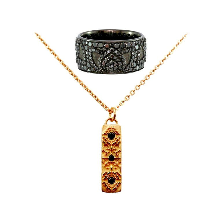 Luca Jouel Black Diamond Lotus Cocktail Band and Labyrinth Necklace For Sale