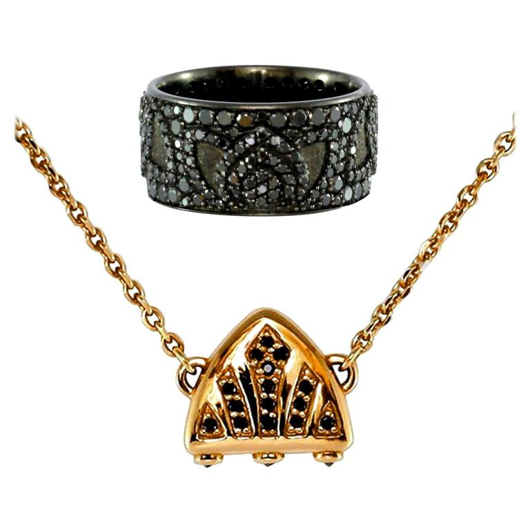 Luca Jouel Black Diamond Lotus Cocktail Band and Petite Arch Necklace For Sale