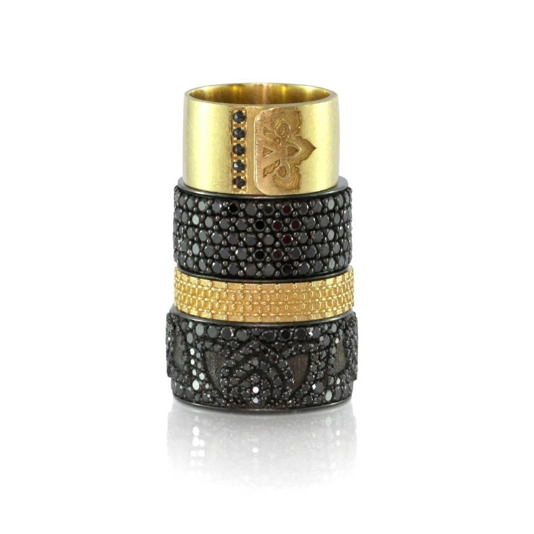 Luca Jouel Black Diamond Lotus Cocktail Band and Petite Arch Necklace For Sale 1