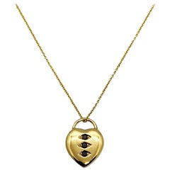 Luca Jouel Black Diamond Petite Heart Necklace in 18 Carat Yellow Gold
