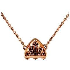 Luca Jouel Black Diamond Rose Gold Symbolic Arch Necklace