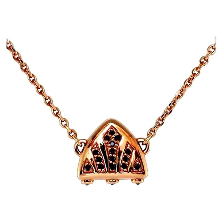 Luca Jouel Black Diamond Rose Gold Symbolic Arch Necklace For Sale